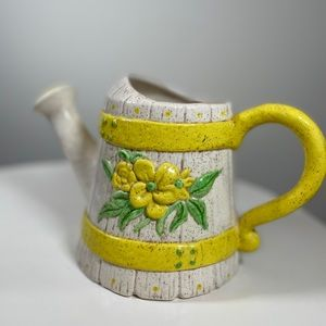 Cottagecore Watering can planter yellow vintage